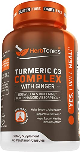 Turmeric Curcumin C3 Complex Supplement with Ginger Root, Boswellia and Bioperine Black Pepper for Enhanced Absorption 60 Vegetarian Capsules Non-GMO for Men Women