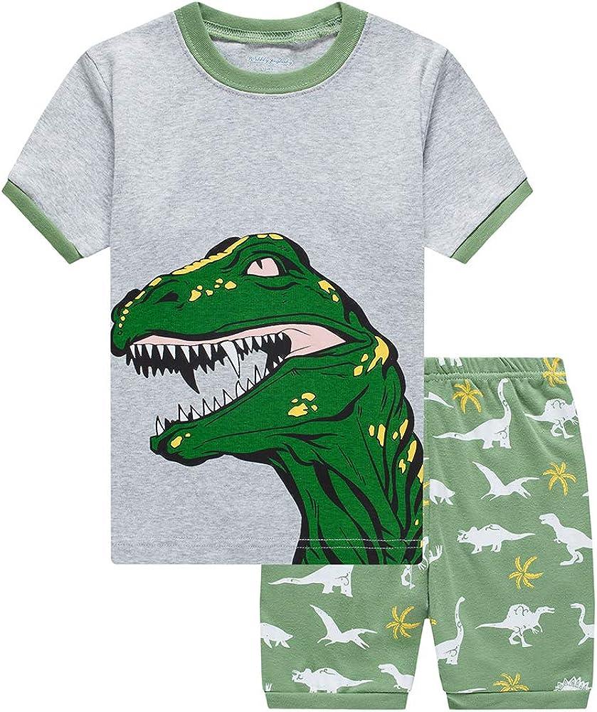 Ropa de Dormir de Dinosaurio Trian de algod/ón 2 Piezas Pijamas Ropa de Dormir para ni/ños de 1 a 7 a/ños Conjunto de Pijamas para ni/ños peque/ños de Verano