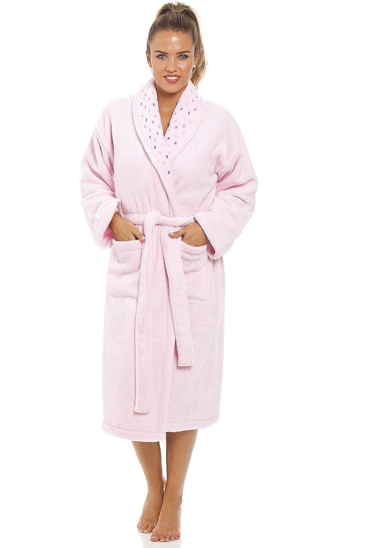 Camille Womens Ladies Pink Supersoft Fleece Bathrobe