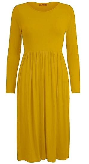 XubiDubi ® Women Ladies Long Sleeve Plain Jersey Flared Tea Skater Swing  Dress Sizes 8-26  Amazon.co.uk  Clothing b514c47a0