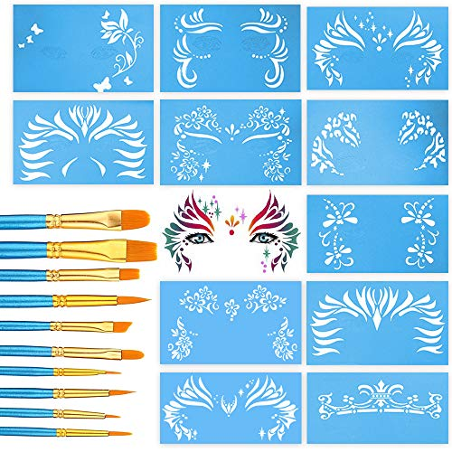 Pixiss Face Painting Stencils 13 Pack Kit Reusable Face Stencils for Facepainting, Tattoo Templates, Makeup Stencil with 10 Brushes Nylon Round and Pointed Brush Set