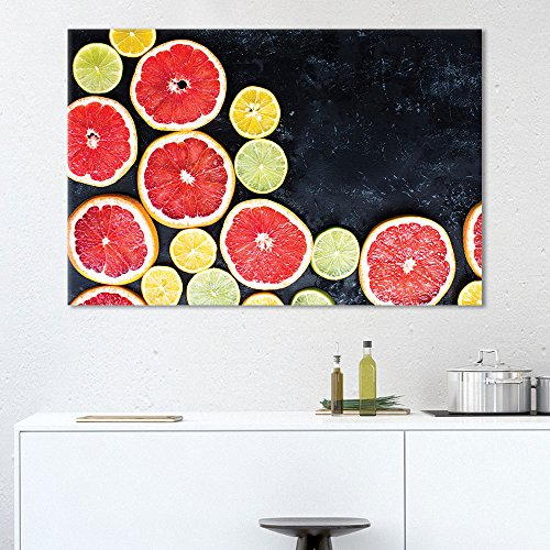 Wall26 Canvas Wall Art - Colorful Orange and Lemon Slices - Giclee Print Gallery Wrap Modern Home Decor Ready to Hang - 24x36 inches