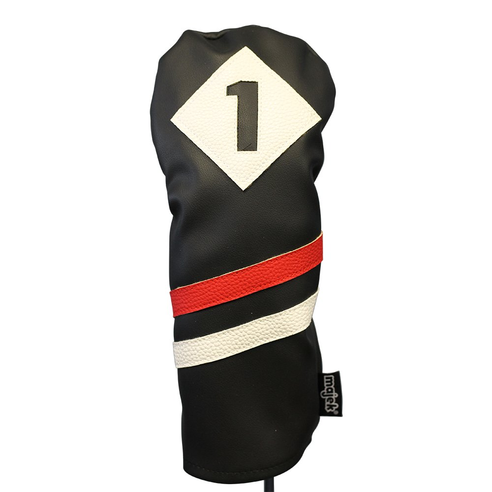 Majek Retro Golf Headcovers Black Red and White Vintage Leather Style 1 3 5 X H Driver Fairway and Hybrid Head Covers Fits 460cc Drivers Classic Look by Majek (Image #2)