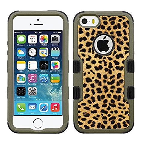 Fit iPhone SE, One Tough Shield ® 3-Layer Shock Absorbing Hybrid Phone Case (Earth Color with Black Silicone) for Apple iPhone SE. Also fit iphone 5 / 5s - (Cheetah (Iphone 5 Cases Cheetah)