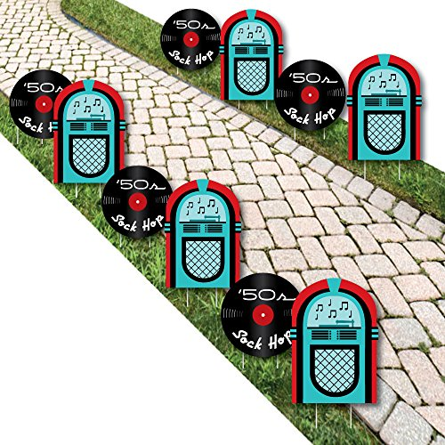 50's Sock Hop - Jukebox and Record Lawn Decorations - Outdoor 1950s Rock N Roll Party Yard Decorations - 10 Piece]()