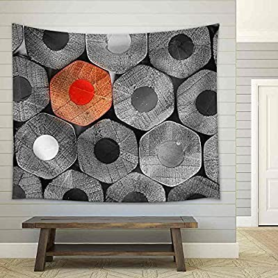 Handsome Piece of Art, Made to Last, Crayons Stack Texture Black and White Fabric Wall