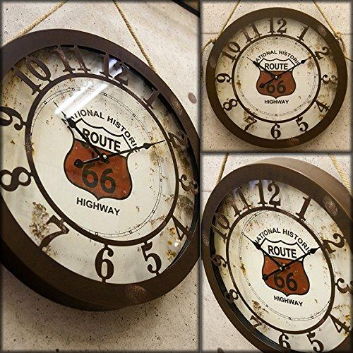 アメリカン ビンテージ風 グランド ビッグ 50cm クロック Route66 (ルート66) 掛け時計 ルート66 グッズ アメリカ アメリカン 雑貨 掛時計 B01BP2MKUE