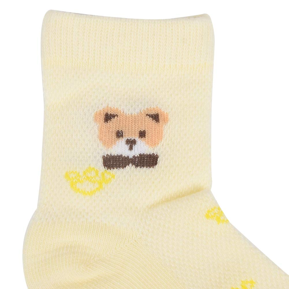 Babasee 5 Pairs Smiley Bear Cotton Socks with Grip For Kids Toddlers Baby Girls Boy