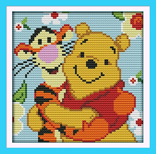 """NKF Cross Stitch Kit, Winnie the pooh and tigger (2), 11CT Counted, 23cmX23cm or 8.97""""X8.97"""""""