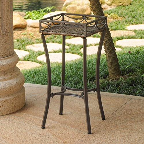Valencia Resin - International Caravan Valencia Resin Wicker Plant Stand Antique Brown
