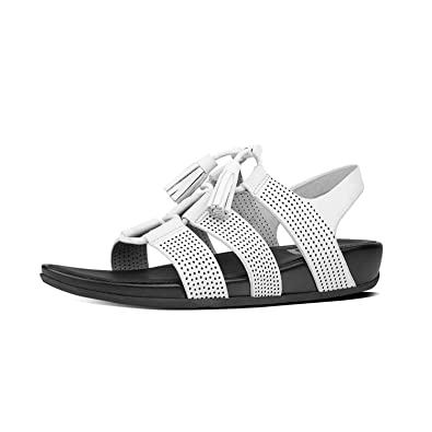 a5bee0ea7 FitFlop Women s Gladdie Perf Lace-Up Leather Sandals Urban White 10    Sunscreen