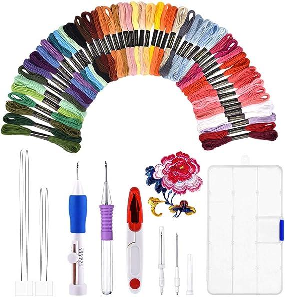 Kit de bordado, BASEIN combinación de juego de herramientas artesanales de aguja de punzonado de bordado que incluye 50 hilos de colores para costura de punto de cruz costura DIY.: Amazon.es: Hogar
