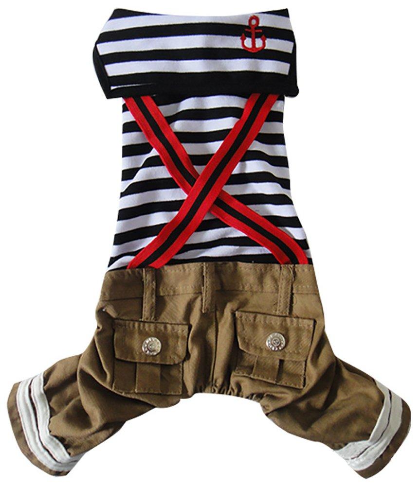 Woo Woo Pets Pets Dogs Naval Uniform Navy Sailor Dress Stripe Pattern Overalls Clothes Black M