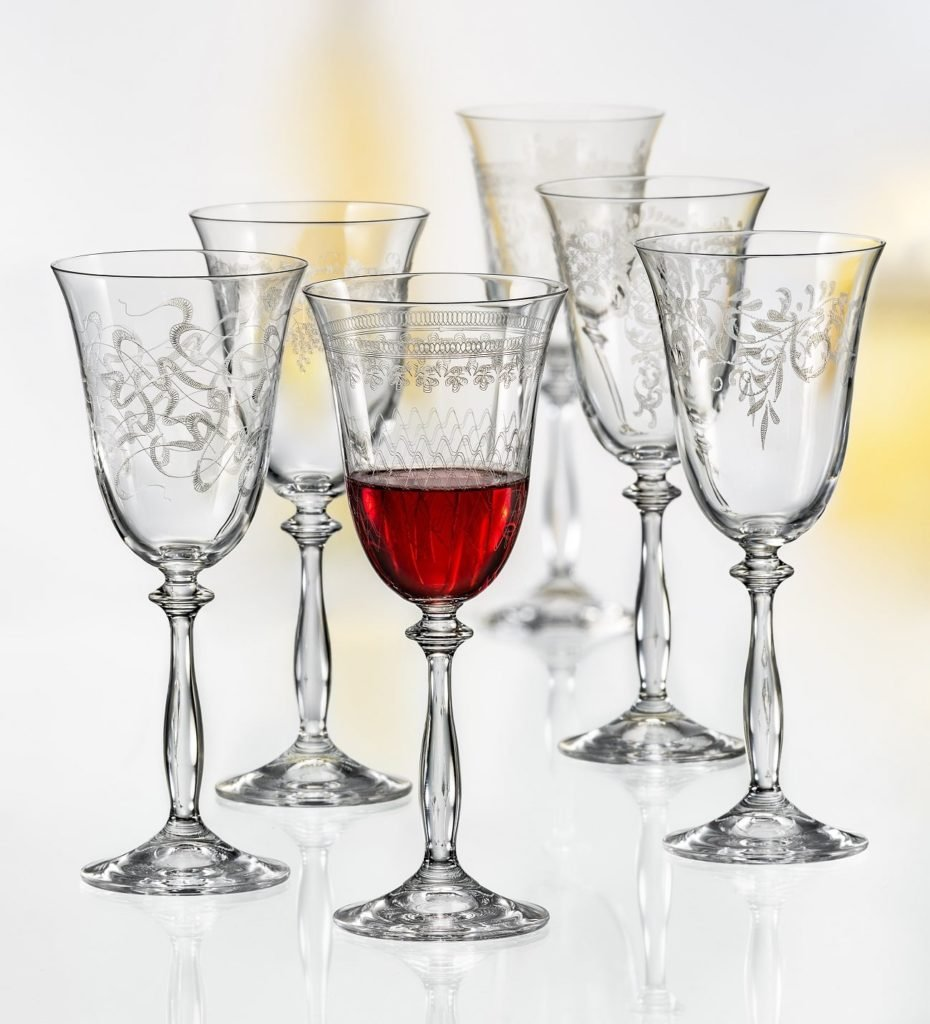 Bohemia Crystal,''Royal'' Crystal Red Wine Glasses, Set of 6, Etched Design, Clear