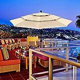 EasyGo Deluxe 10' Round Three Tier Market Patio Umbrella – Solution Dye Fabric Outdoor Tilt Umbrella Beach Hut Parasol – Beige