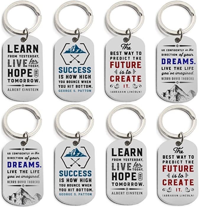 (12-Pack) Motivational Keychains with Inspirational Quotes - Wholesale Bulk Keychains for Corporate Office Gifts, Thank You Appreciation Gifts for Staff, Small Bulk Gifts for Coworkers and Employees