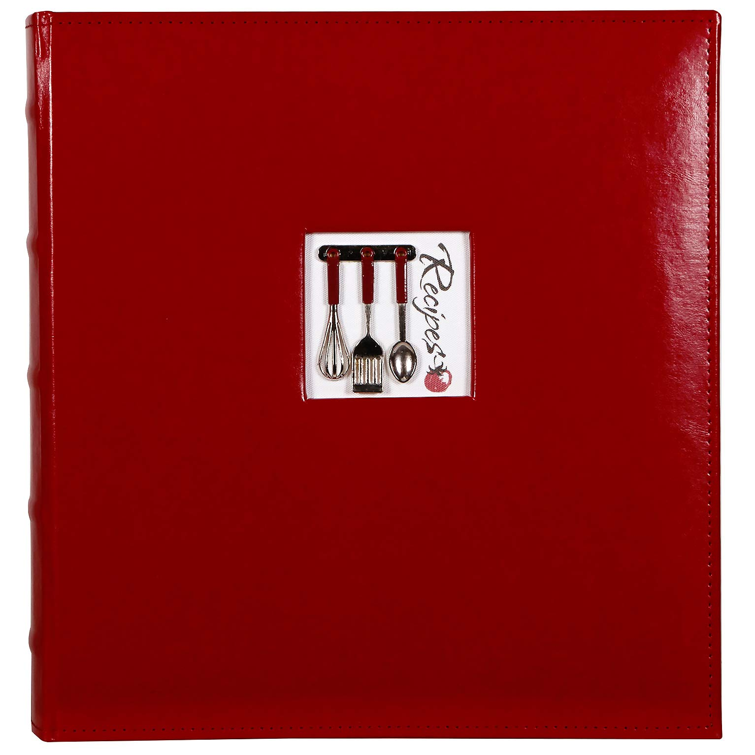 C.R. Gibson Red Leather Kitchen Recipe Keeper Binder - 11'' x 12'' by C.R. Gibson