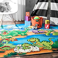 27 x 5 Contemporary Kids Playtime Dinosaur Friends Cartoon Multi Color Area Rug, Polyester Dino Animal Cute Fun Tween Novelty Playful Pattern, Rectangular Indoor Bedroom Living Room Accent Carpet