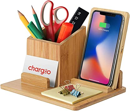 Bamboo Wireless Charger Desk Organizer, Wireless Charging Pad and Pen Holder, 7.5W Compatible with iPhone X/XR/XS MAX/XS/8/8 Plus, 10W Samsung Galaxy ...