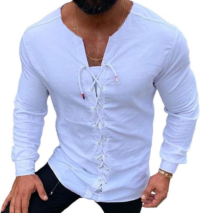 WEIMEITE Camisa De Hombre Casual Color Liso Streetwear Cuello ...