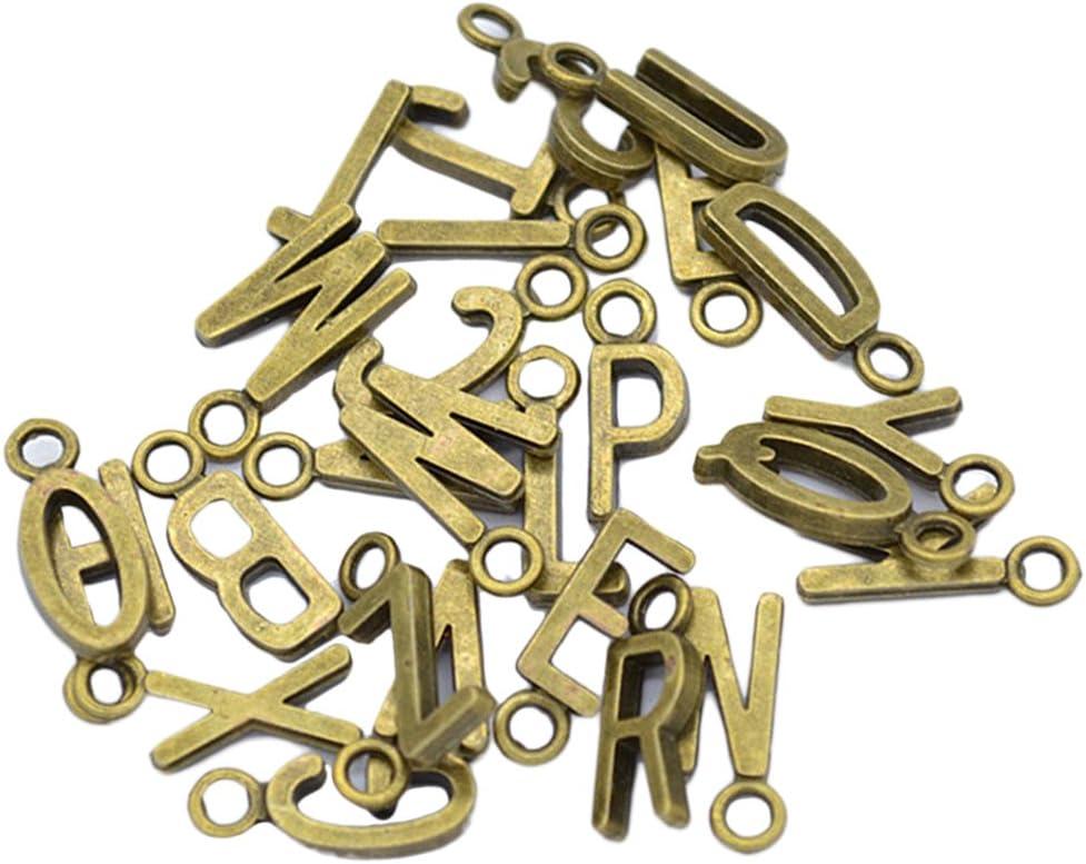 Oro 26pcs Inglese Alfabeto A-z Lettere Metallo per Creazione Gioielli Fai Da Te Fascino