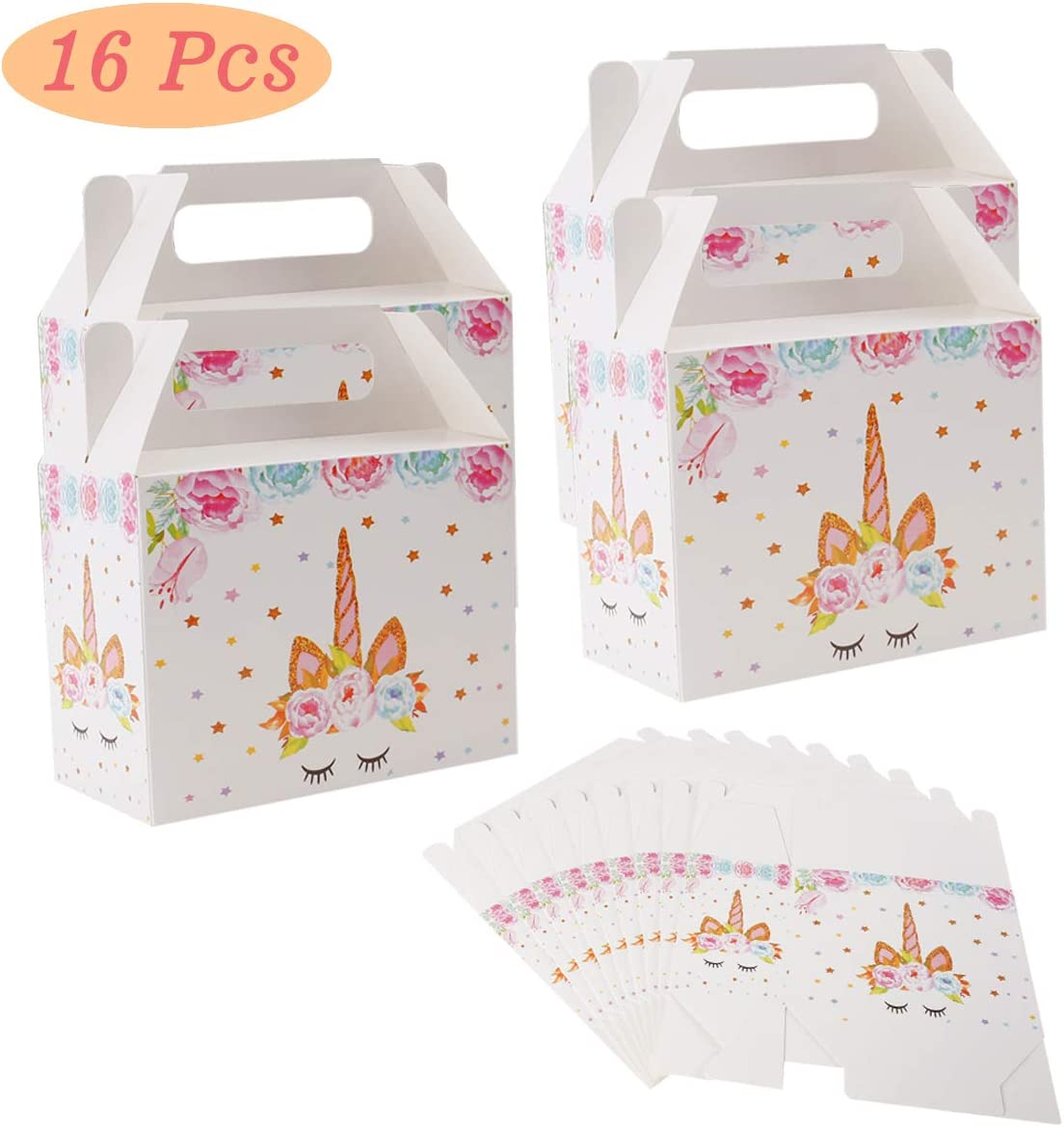 Unicorn Party Favor Boxes for 16 Guests