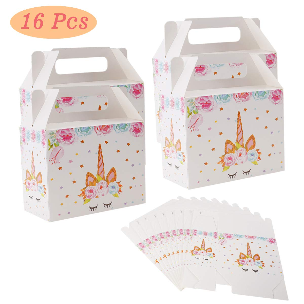 Unicorn Gift Boxes Party Supplies, Unicorn Party Bags Faver For Unicorn Theme Birthday Party Decorations Set Of 16, Perfect for Kids Girl Boy Child