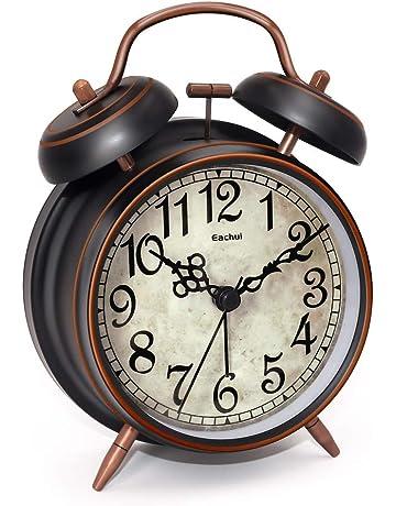 3 R/étro R/éveil M/étal /à Double Cloche Rose COOJA Alarm Clock /à Pile Silencieux Alarme Horloge /à Quartz sans Tic-Tac avec Lumi/ère de Nuit et Alarme Sonore