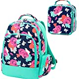 Amelia Floral Aqua 2pcPolyester Zippered Backpack & Lunch Box Bag Set Deal