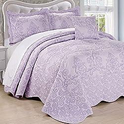 Home Soft Things Serenta Damask 4 Piece Bedspread Set, Queen, Lavender Fog