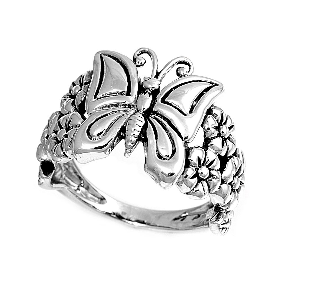 925 Sterling Silver Butterfly Flower Forever 12MM Ring Size 9 by JewelryBadger (Image #1)