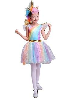 Seasons Direct Halloween Girls Rainbow Unicorn Costume with Wing and Headband