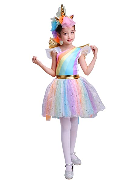 Seasons Direct Halloween Girl\u0027s Rainbow Unicorn Costume with Wing and  Headband