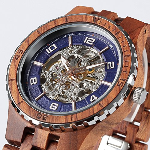 Wilds Wood Watches Premium Eco Self-Winding Wooden Wrist Watch For Men, Natural Durable Handcrafted Gift Idea for Him (Kosso) by Wilds (Image #1)