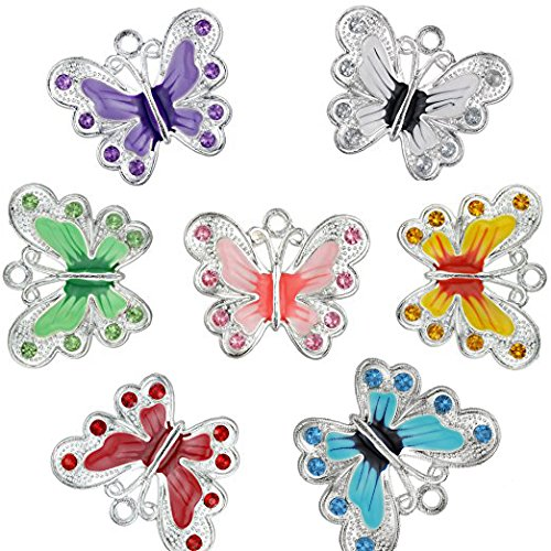 RUBYCA Silver Plated Big Butterfly Enamel Charm Beads Pendants for Jewelry Making DIY 56pcs ()