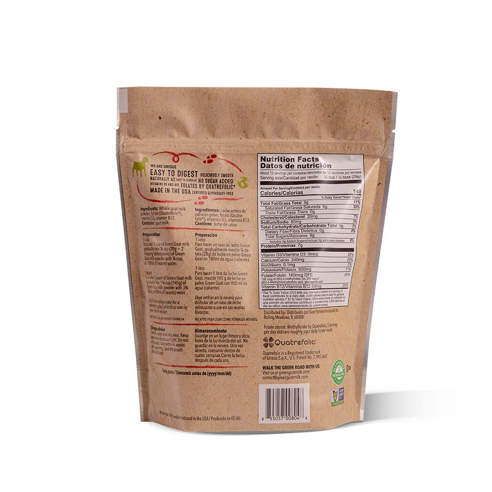 GREEN GOAT Whole Goat Milk Powder, Non GMO, Gluten Free, 12 OZ
