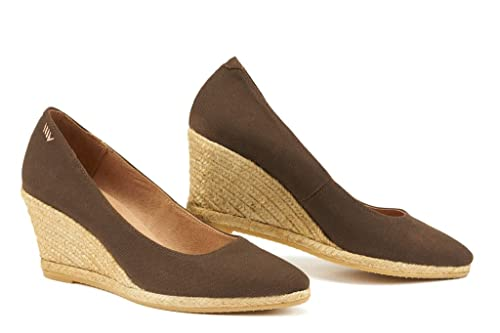c764f5dea1e VISCATA Handmade in Spain Roses 2.75-inch Elegant Style, Soft Canvas,  Slip-on Wedge Pump, Espadrilles Heel