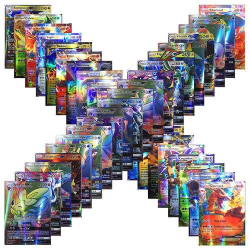 100pcs Poke Cards TCG Style Card, mega ex Cards Full Art, Includes 59 ex Cards 20 mega ex Cards 20 gx Cards 1 Energy Card Look alikes