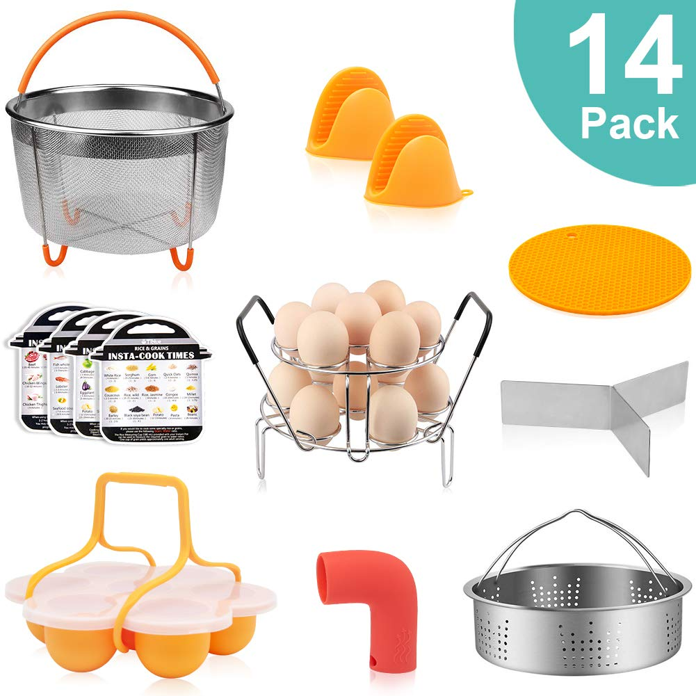 14 PCS Accessories for Instant Pot 5,6,8QT, Pressure Cooker Accessories for Ninja Foodi, Include Steamer Basket, Egg Steamer Rack, Egg Bites Mold, Steam Release Accessory Magnetic Cheat Sheet and More by Tiblue