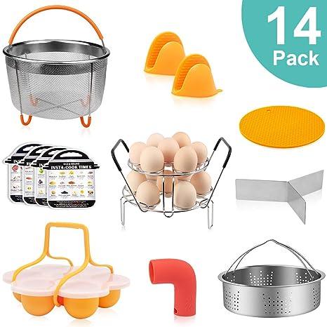 14 PCS Accessories for Instant Pot 5,6,8QT, Pressure Cooker Accessories for Ninja Foodi, Include Steamer Basket, Egg Steamer Rack, Egg Bites Mold, ...