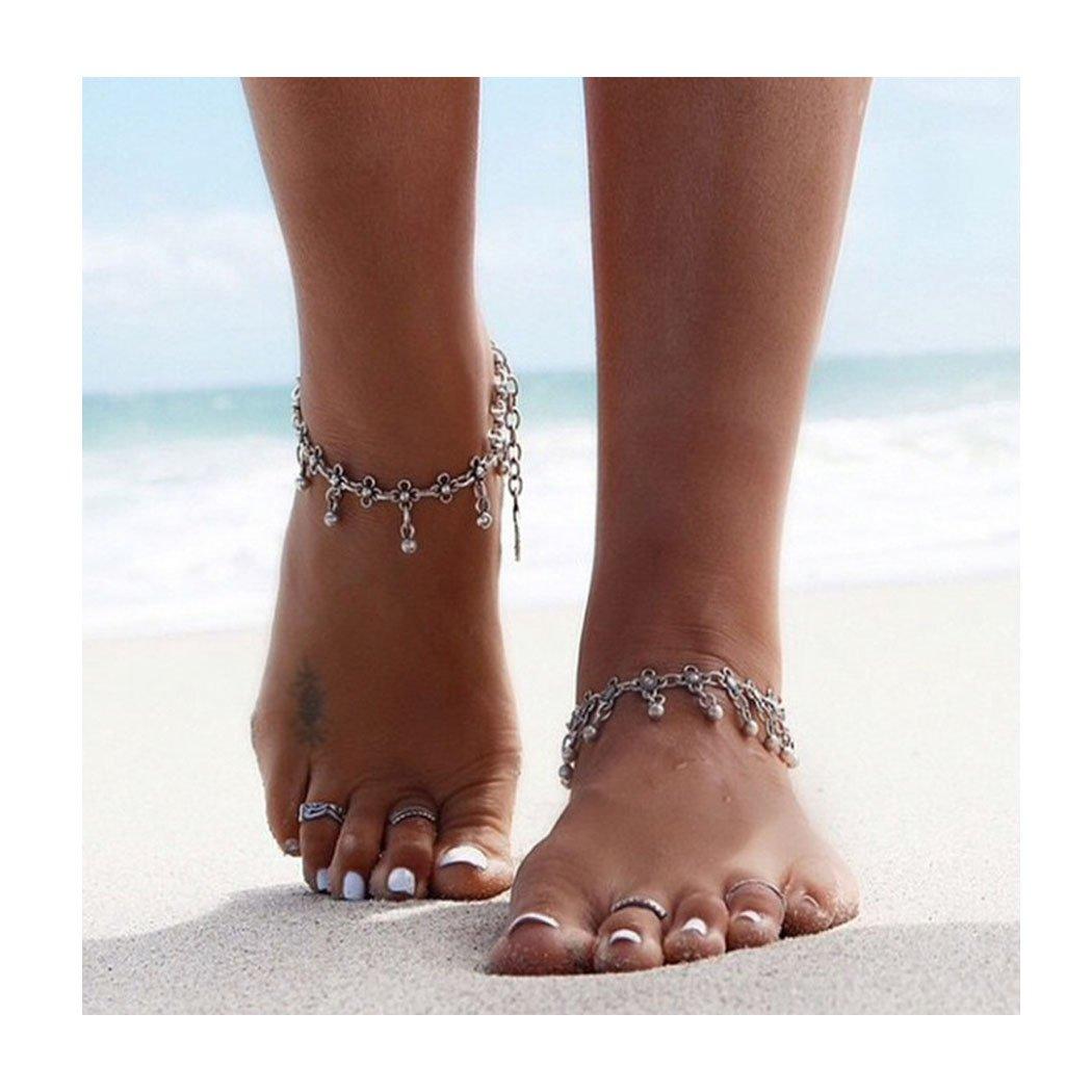 Barogirl Yoga Anklet Silver Bracelet Vintage Beach Foot Chain Beaded Ankle Bracelet for Women and Girls