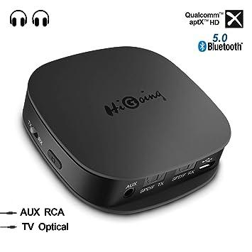 Adaptador Bluetooth 5.0 Inalámbrico, HiGoing Transmisor Receptor 2 en 1 con Toslink Óptico/SPDIF