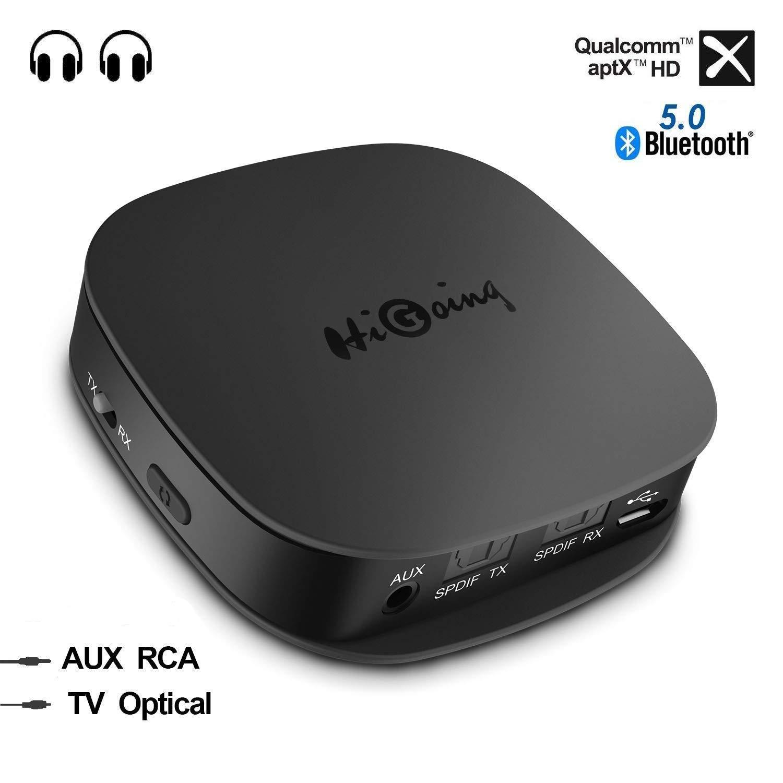 HiGoing Bluetooth 5.0 Transmitter Empfänger, Bluetooth Adapter 2 in 1 Sender Receiver mit Optischem Toslink/SPDIF und 3.5 mm AUX, Zwei Verbindungen für Heim-Stereoanlage und Auto-Soundsysteme etc product image