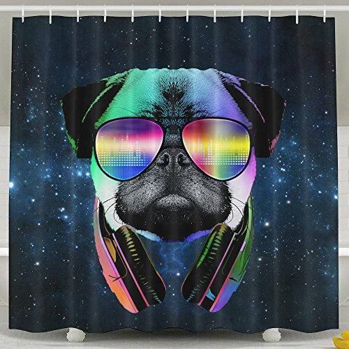 Cool Pug With Headphone 100% Polyester Shower Curtain Waterproof Fabric Bathroom Decor Shower Curtain 60''X72'',72''x72'' And 72''X78'' Inches Included Rings Shower - Robert Pattinson Sunglasses