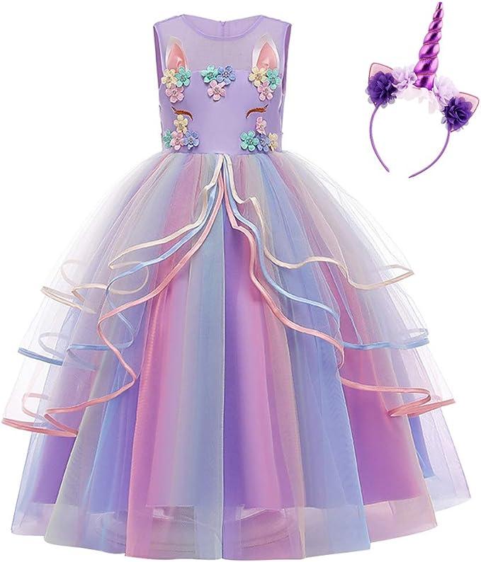 Kinder Mädchen Abend Hochzeit Festlich Kleider Kostüm Brautjungfernkleid Lang