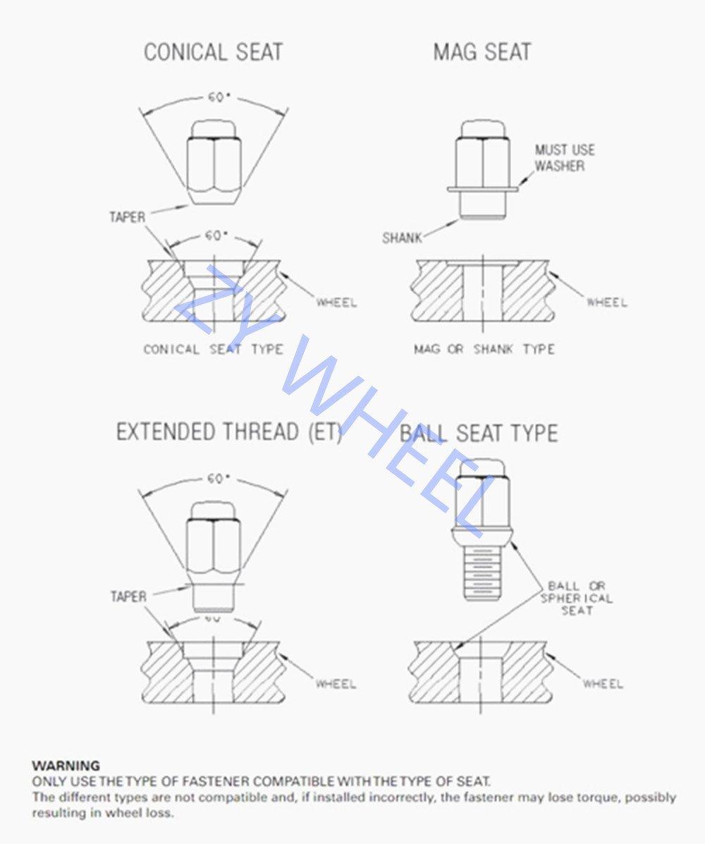 "ZY Wheel Set of 20pcs Black 1/2-20 Closed End Bulge Acorn Lug Nuts Cone  Seat 3/4"" 19mm Hex Wheel Lug Nut fit Jeep Cherokee CJ5 CJ7 Commander  Liberty ..."