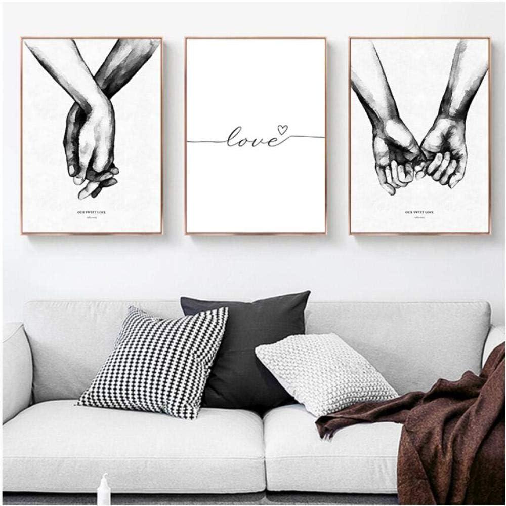 MXmama Arte de Pared en Blanco y Negro Pintura de Lienzo Amor Carteles e Impresiones nórdicos Cuadros de Pared para Sala de Estar Decoración Moderna del hogar-60x80cmx3 Sin Marco