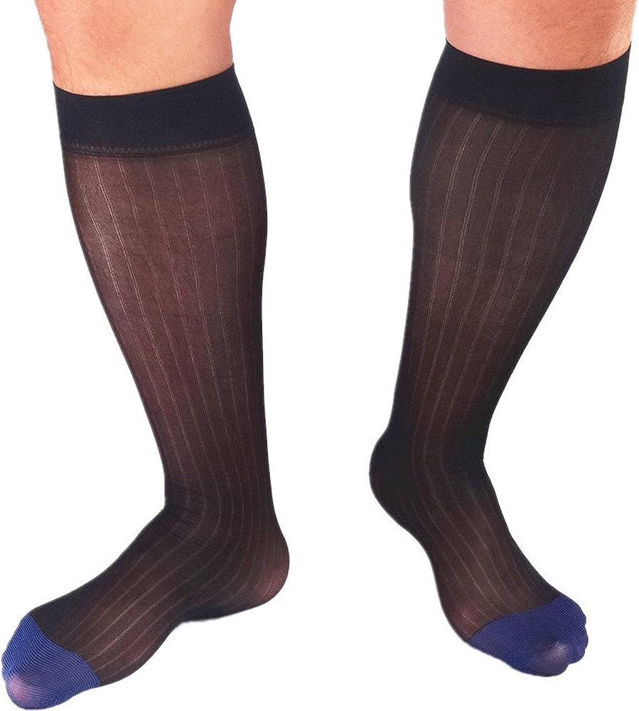 Mr.Babuu 3Pairs Pack Mens Over The Calf Wide Striped Black Gold Bule Toe Sheer Dress Socks