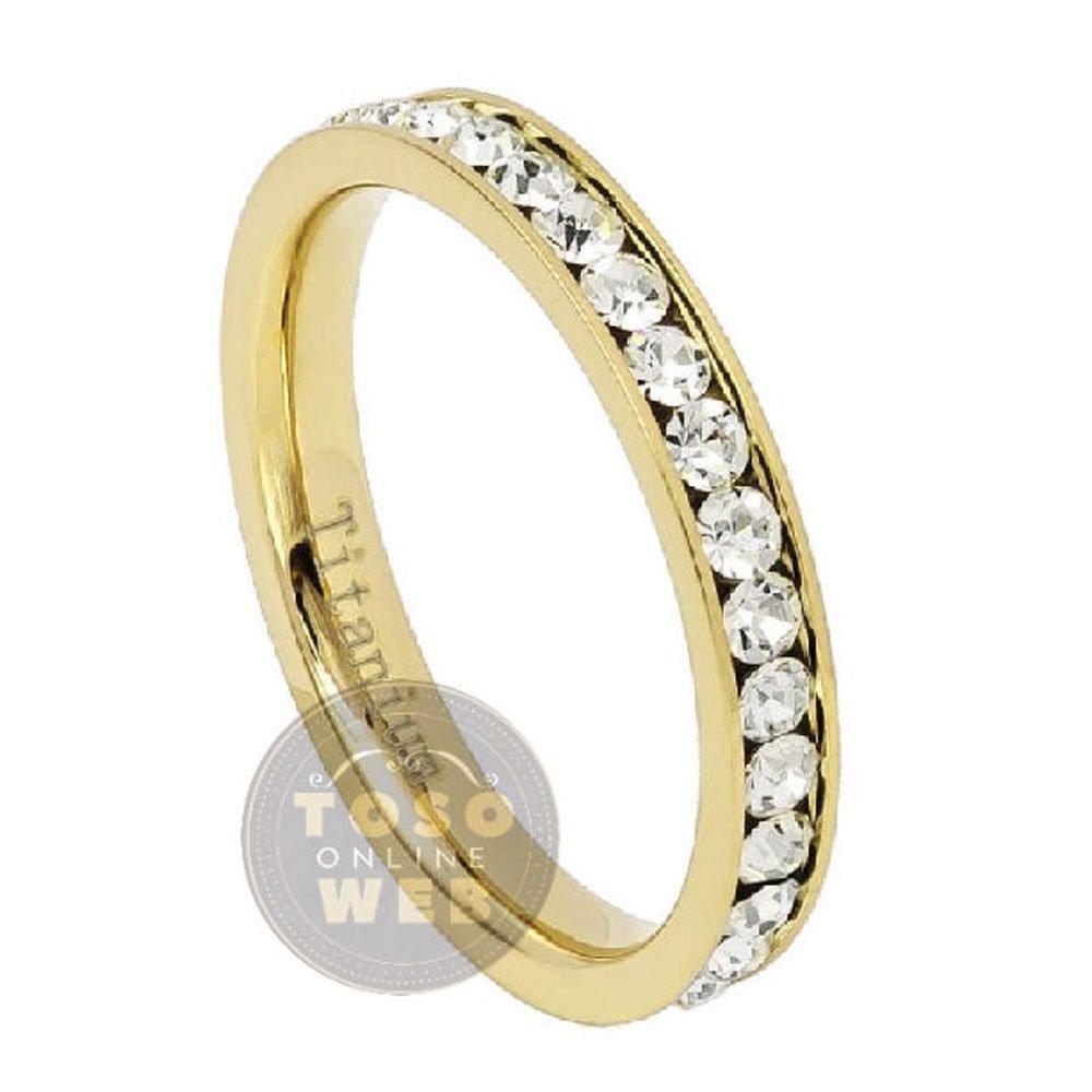Amazon.com: Ladies 3 mm. amarillo oro Ion chapado titanio CZ ...