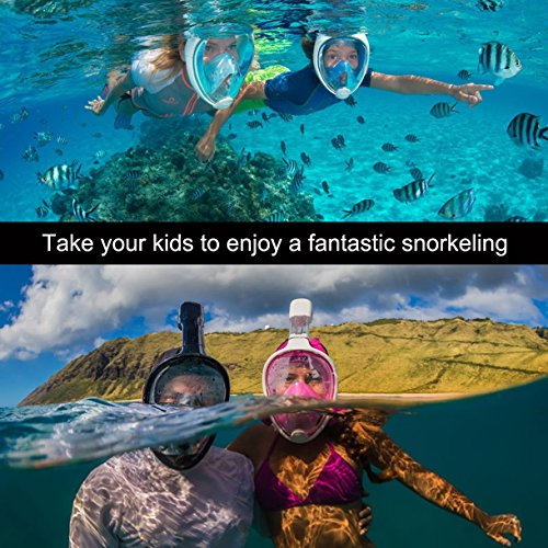 SeeWorld 180° Panoramic Full Face Snorkel Mask -Larger Viewing Area Free Breath Technology with Anti-fog and Anti-leak Snorkeling Design for Adults,Youth and Kids Photo #9
